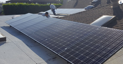 Tilt up solar system typically used on flat roofs to achieve optimal solar production