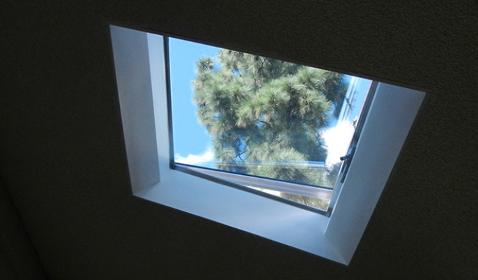 Custom operable skylight seen from inside