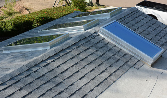 2'x 4′ solar band skylights (filtered and weather proof) shot during installation