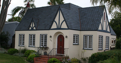 1930s historic cottage in Point Loma. Fish scale shingle, Carriage House, in blue. All copper flashings.