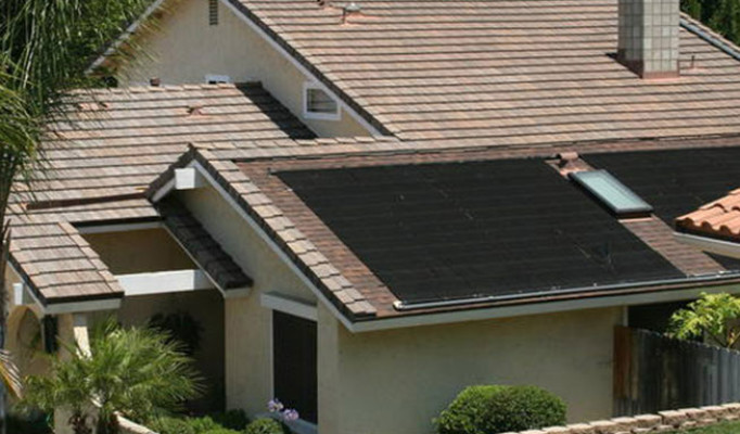 Light weight concrete tile with an inset pool solar system (level with roof) in Bonita