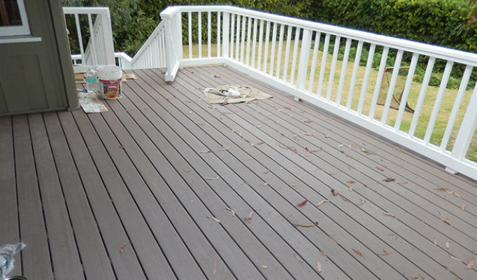 Rebuilt wood deck with AZEK decking in LaJolla