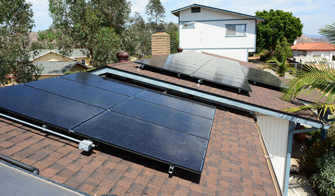 Pool and electric traditionally mounted PV solar system in San Carlos