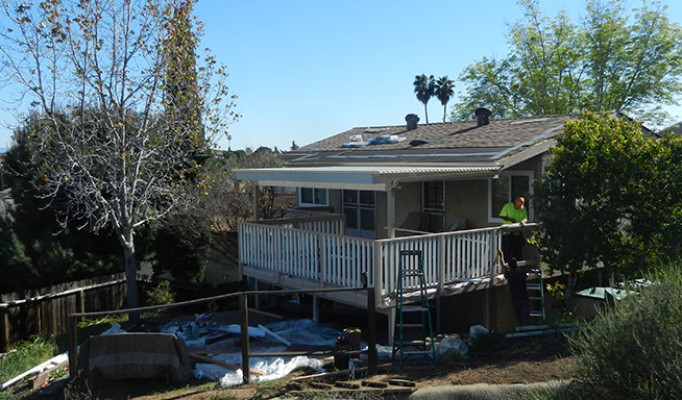 New roof, custom deck, railings and lattice covering in San Carlos