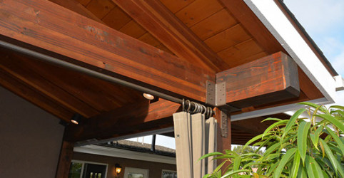 Close up of gluelam beams & tongue and grove ceiling