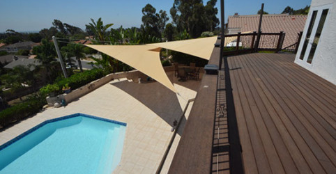 Custom railing and Mangaris decking stained with PWP stain
